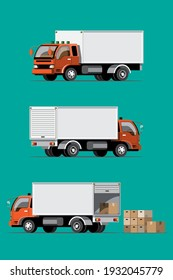 Big isolated vehicle vector colorful icons set, flat illustrations of various type truck, logistic commercial transport concept.