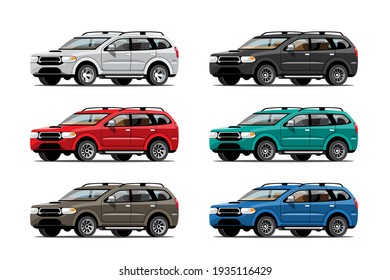 Big isolated vehicle vector colorful icons set, flat illustrations of various type car.