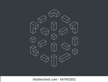 Big isometric and linear cube.