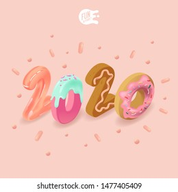 Big isometric sweets number 2020 on pink background. Candy splash. Greeting New Year card