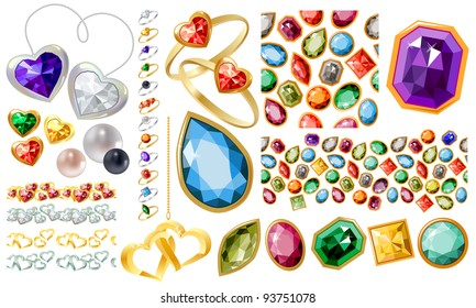 Big jewellery set with gems and rings.  Contains seamless pattern and 5 borders. For valentines, greeting cards, love letters, wedding and engagement invitations, jewellery store advertisements.