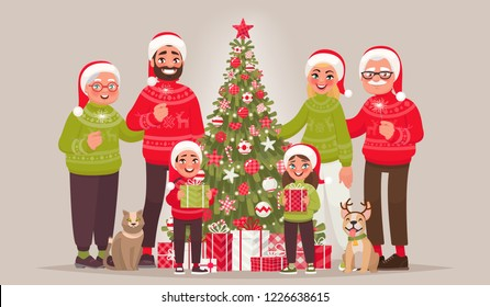 Big joyful family near the Christmas tree. Merry Christmas and Happy New Year. Grandmother, grandfather, father, mother and children as well as pets together celebrate the holiday. Vector illustration
