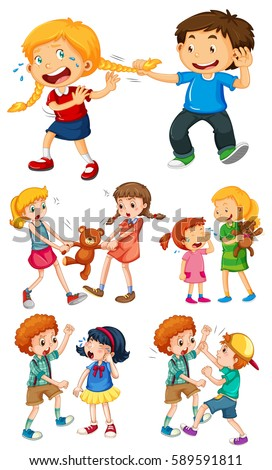 big kids fighting little kids illustration のベクター画像素材