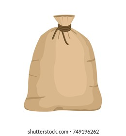Big knotted sack full isolated on white background. Brown textile bag of potatoes or grain. Canvas sack closeup vector illustration.