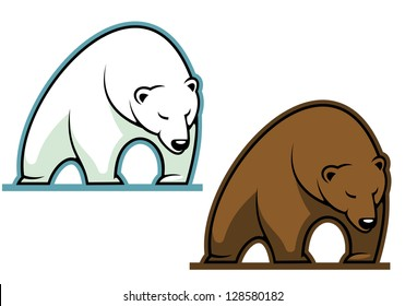 Big kodiak bear in cartoon style for sports mascot, such as idea of logo. Jpeg version also available in gallery