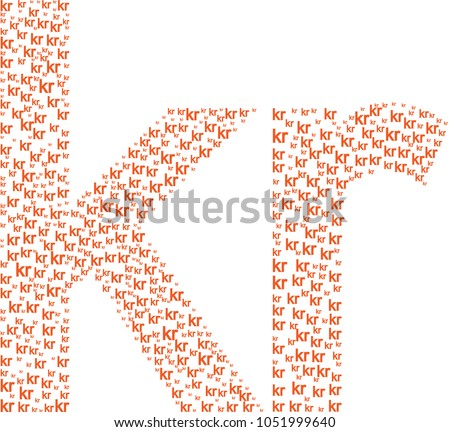 Big Krona Krone Symbol Collage Composed Stock Vector Royalty Free