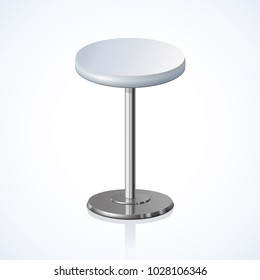 Big lap disk shape pale grey color stylish 3d barstool stand on one solid shiny stem foot on light backdrop. Pub club trendy equipment object concept design. Close-up side view with space for text