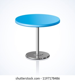 Big lap disk shape vivid cyan color stylish 3d board platen stand on one solid shiny stem foot on white backdrop. Club concept design object. Close-up side view with space for text