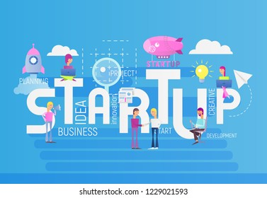 Big Letters Startup. Small Size People Realize the Idea  of  Cohesive Teamwork in the Startup. Vector Illustration for Website, Banner, Social Media and Landing Page. Blue Background.