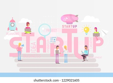 Big Letters Startup. Small Size People Realize the Idea  of  Cohesive Teamwork in the Startup. Vector Illustration for Website, Banner, Social Media and Landing Page. Pastel Colors.
