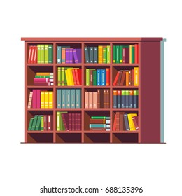 Big library wooden bookcase full of stacked books standing on bookshelves. Flat style vector illustration isolated on white background.