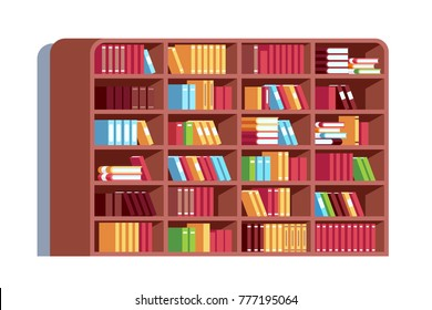 Big library wooden bookcase full of stacked books standing on bookshelves. Bookshelf with rounded corners and lots of books. Flat style vector illustration isolated on white background.