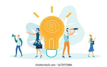 Big Light Bulb, Generating Ideas in Business Flat Cartoon Vector Illustration. Girl with Briefcase Standing near Huge Lamp. Woman with Tablet Writes Down Solution. Men with Megaphone and Telescope.