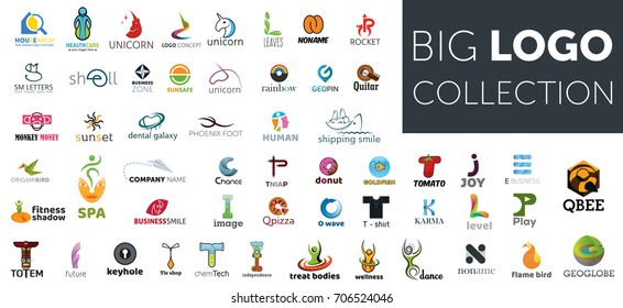 Big logo collection. Creative business concepts. Isolated vector icons. Set of symbol and sign for company logo designing
