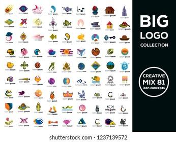 Big logo collection. Creative icon concepts.  Mix set