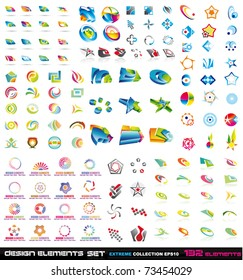 Big Logo collections set: Abstract Design Elements 2D and 3D set with 132 colorful pieces with a big variety of shapes.