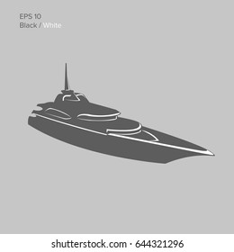Big and luxury yacht vector illustration. Black and transparent private ship isolated vector. Exclusive vessel