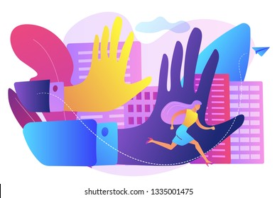 Big male hands pursuing and harrased female victim running away. Sexual harassment, sexulal bullying, abnormal labour relationship concept. Bright vibrant violet vector isolated illustration