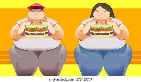 Big man and woman with the overload weight. Health problems of fast food. Social eating.
