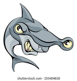 A big mean cartoon hammer head shark sports mascot