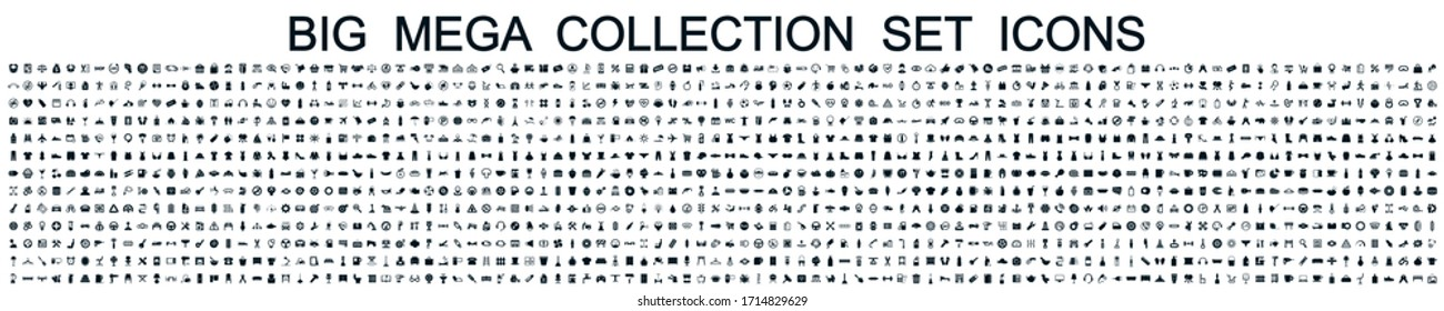 Big mega collection set icons: business, shopping, device, technology, medical, ecology, food & drink and many more for any cases of life using – stock vector