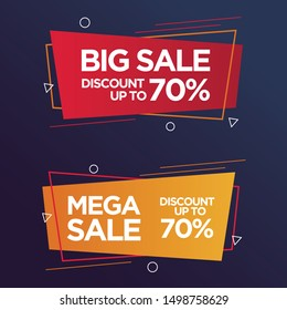 Big and Mega sale banners geometric set with text space