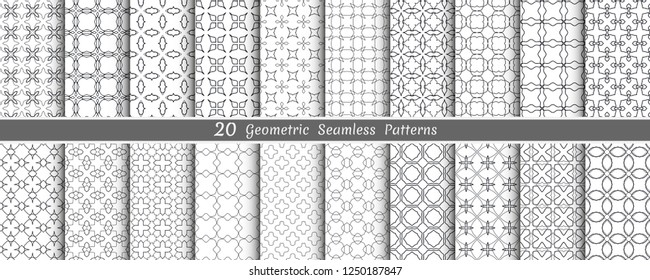 Big mega set of seamless monochrome geometric patterns, line backgrounds collection. Endless repeating linear texture for wallpaper, packaging, banners, invitations, business cards, fabric print