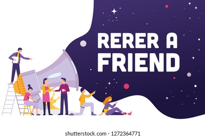 Big megaphone with Refer a friend word concept, a team work standing and sitting with big megaphone behind and shout Refer a Friend, Refer a friend concept media for landing page, template, ui, web,
