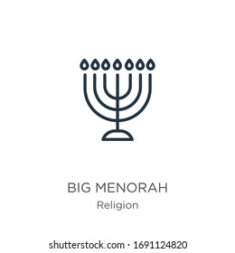 Big menorah icon. Thin linear big menorah outline icon isolated on white background from religion collection. Line vector sign, symbol for web and mobile