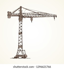 Big metal jib erection height build winch stand on white sky. Lifter job cabin logo. Line black ink hand drawn wire built weight in art retro doodle sketch cartoon style pen on paper space for text
