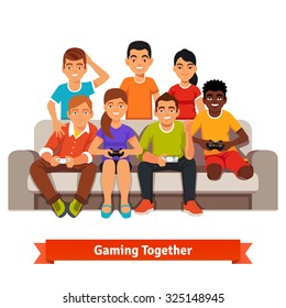 Big mixed race group of teen friends having a video games party, playing on sofa. Flat style vector illustration isolated on white background.