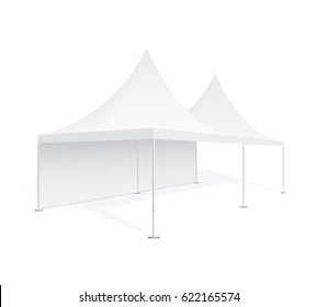 Big mobile marquee for trade show, weddings and events. Promotional outdoor event pop-up white tent. Realistic 3D mockup, template for your design, isolated on background.  Product advertising vector.