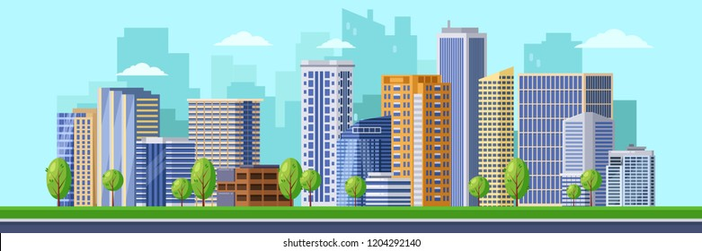 Big modern city illustration. Vector cityscape background. Urban buildings, skyscrapers of the business downtown district.