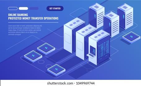 Big modern data center, server room, cloud data storage files service, data rpocessing isometric vector technology
