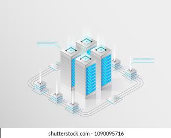 Big modern data center, server room, cloud data storage files service, data processing isometric vector technology