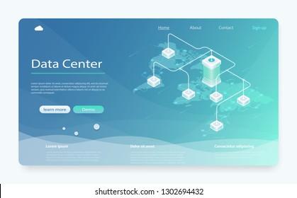 Big modern data center, server room, cloud data storage files service. Isometric Server room and big data processing concept. Cloud computer connection hosting server.  Concept of cloud storage.