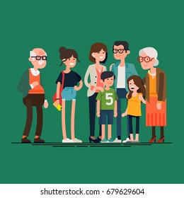 Big modern family vector flat design illustration. Relatives standing together. Grandparents, mother, father, siblings. Happy family characters