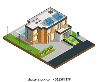 Big modern green eco house with solar panels on roof beautiful tidy yard garage and swimming pool isometric vector illustration