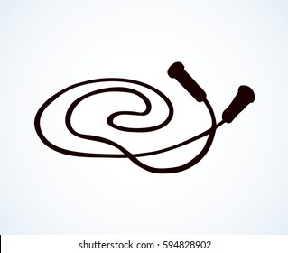 Big modern jumprope isolated on white backdrop. Dark ink hand drawn picture in art retro style. Close up top view with space for text
