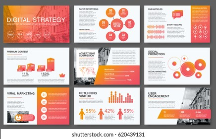 Big modern set of infographics. Vector illustrations about digital projects, management, clients brief, design and communication. Use in website, corporate report, presentation, advertising, marketing