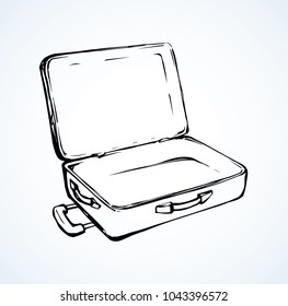Big modern trunk box sac on white airport backdrop. Suit case holdall carryall freehand outline black ink hand drawn logo emblem sketchy in retro art doodle style pen on paper and space for text