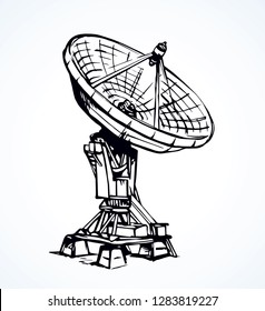 Big modern worldwide aerial C band tv tower system isolated on white background. Freehand outline ink hand drawn picture sign sketchy in art scribble retro style pen on pap with space for text on sky
