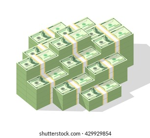 Big money concept. Stacked pile of hundred us dollar cash. Vector isometric illustration