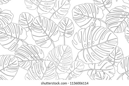 Big monstera leaves and exotic flowers composition. Vector illustration. Botanical seamless wallpaper. Digital nature art. Cartoon style sketch. White background.