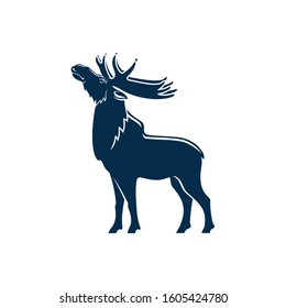 Big moose with antlers isolated full length silhouette. Vector wild elk, forest deer