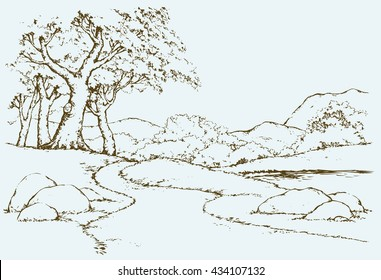 Big mount range cliff with old oakwood grove on hilltop. Freehand outline ink hand drawn picture sketchy in art scribble retro style pen on paper. Panoramic view with space for text on sky background