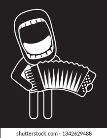 big mouth accordionist singing and playing accordion