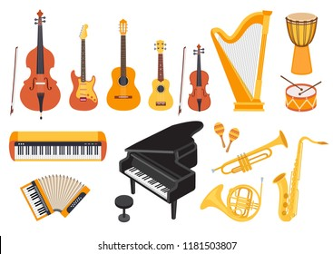 Big musical instruments set isolated on white background. Guitar, ukulele, piano, harp, accordion, maracas, violin etc. Flat style, vector illustration