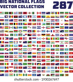Big national flags vector collection 287, All official national flags of the world . circular design . Vector .