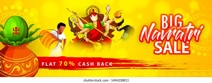 Big Navratri Sale Banner or Poster Design. Hindu Festival Navratri or Durga Puja Banner with Goddess Durga Illustration. Shubh Navratri.